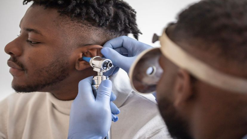 Man getting his hearing checked out