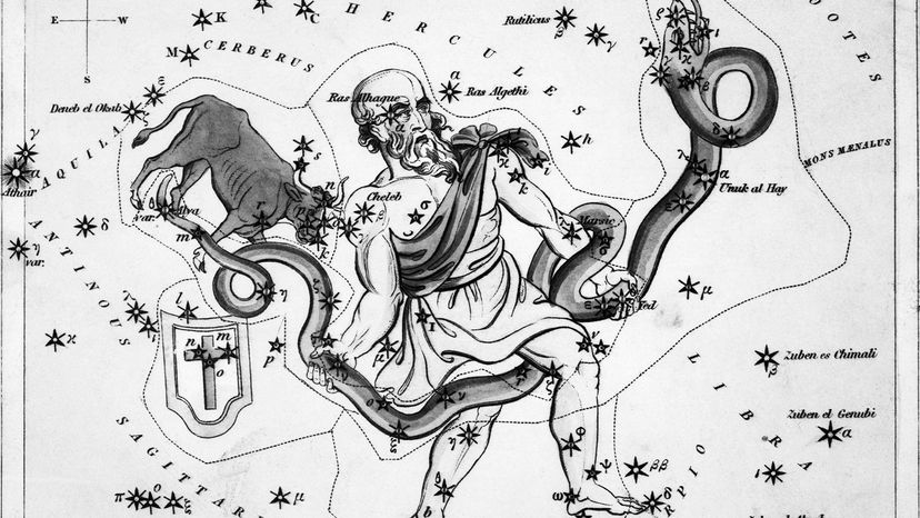 Illustration depicting a view of the heavens, with the constellations Taurus Poniatowski, Serpentarius, Scutum Sobiesky, and Serpens.