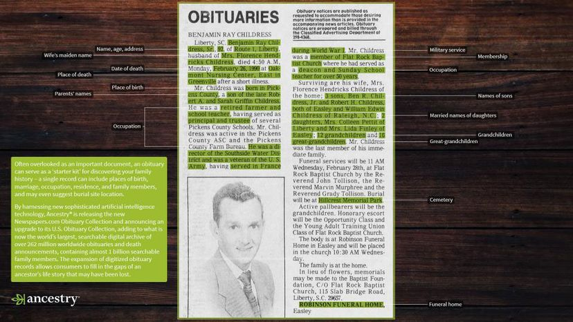obituary from Ancestry