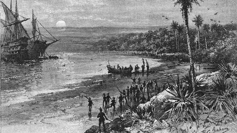 Columbus lands at San Salvador