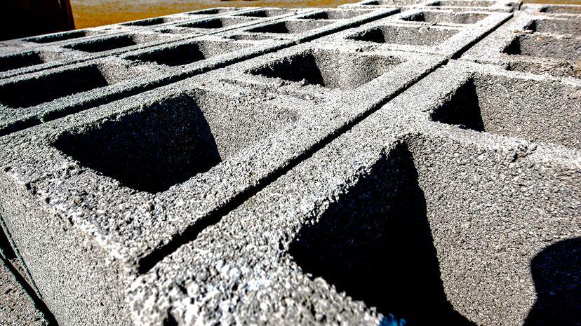 Cinder blocks at construction site