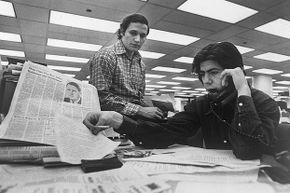 Washington Post staff writers Bob Woodward (left) and Carl Bernstein were instrumental in breaking the Watergate story.