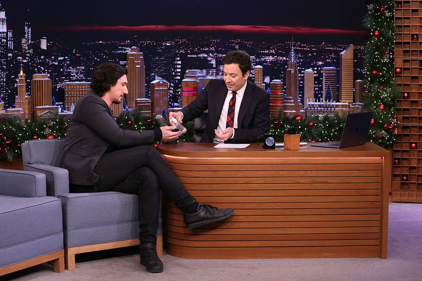 Host Jimmy Fallon (right) shares some hand sanitizer with actor Adam Driver during an interview on The Tonight Show.  Andrew Lipovsky/NBC/NBCU Photo Bank via Getty Images