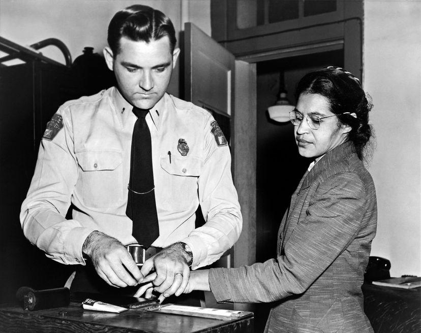Rosa Parks arrested and fingerprinted