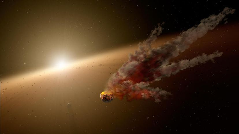 An artist's impression of a collision between a planet and a proto-planet. Astronomers suggested that a smash-up like this could cause the dimming of Tabby's star.