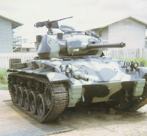 The M-24 Chaffee Light Tank was armed with a 75mm main gun and two Browning .30 caliber machine guns.