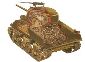 This cutaway of the M-4 Sherman shows the cramped and dangerous conditions in which tank crews operated during World War II.