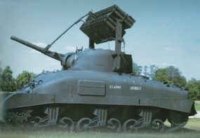 An M-4 Sherman with rocket launchers is shown here in 1944.