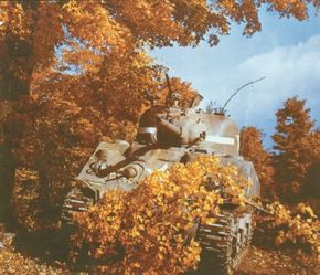 At first, the M-4 Sherman was barely a match for the German Panzerkampfwagen V Panther. Its 75mm gun could penetrate the Panther's side and rear armor only.