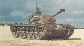 The M-48 Patton Medium Tank used the M-47 hull fitted with a new turret. See more tank pictures.