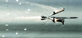 The sabot separates from the penetrator as a sabot round flies through the air.