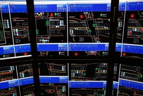 Machine-to-machine communications can be used to monitor traffic in real time, like at this Los Angeles traffic center.