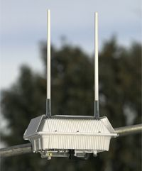 Municipal networks use routers like these mounted on light poles throughout the city.