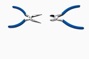 Two varieties of pliers on display here: The one on the left is a wire cutter and the one on the right can grip larger objects.