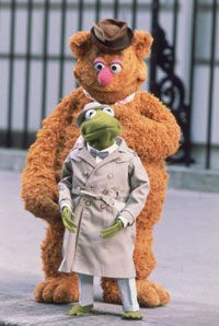 """Fozzie (a live-hand Muppet) and Kermit (hand-and-rod) in """"The Great Muppet Caper"""""""