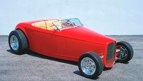 Muroc Roadsters have steel-bodied rollers with independent suspensions. The fenderless hot rod is shown here. See more hot rod pictures.