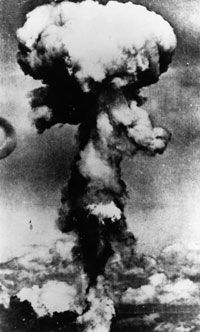 The mushroom cloud from the atomic bomb dropped on Hiroshima, Japan, by the United States on Aug. 6, 1945.