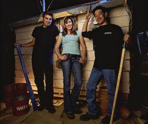 """The """"MythBusters"""" build team -- Tory Belleci, Kari Byron and Grant Imahara"""
