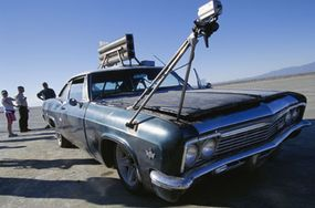 """A camera rig on the original rocket car from season one of """"MythBusters"""""""