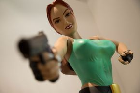 Lara Croft's buxom figure made many gamers hope the nudity cheat was real.
