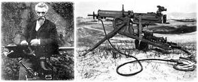 Hiram Maxim and one of his early machine gun designs: When Maxim introduced his weapon to the British army in 1885, he changed the battlefield forever.