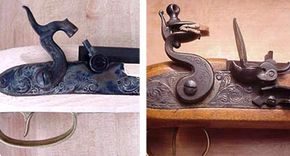 A percussion cap gun (left) and a flintlock gun (right), two important steps on the way to modern firearms.