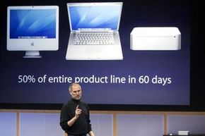 Former Apple CEO Steve Jobs introduces a new Mac mini with Intel Core Duo processor during a special Apple event in California in 2006.