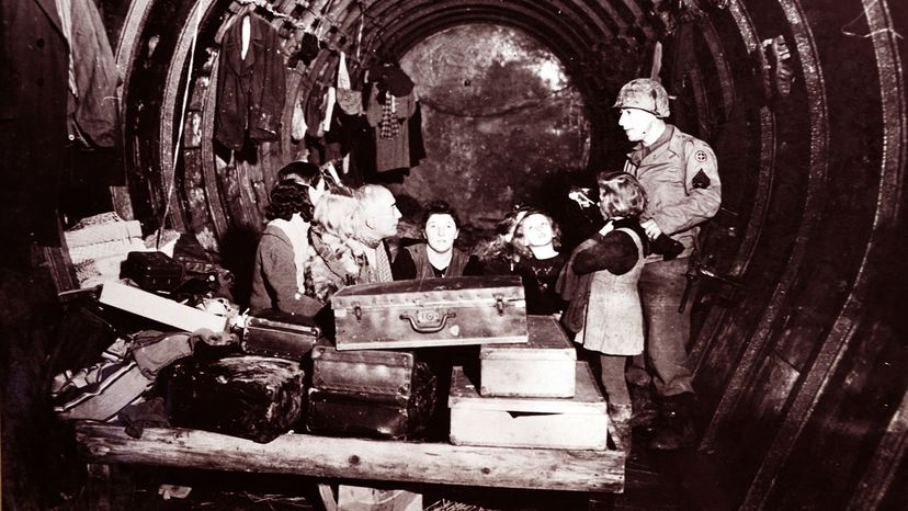 French civilians refugees live inside the tunnels