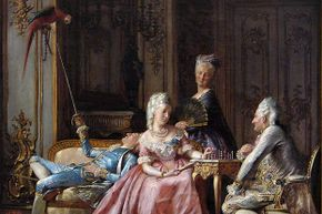 This 19th century painting by Kristian Zahrtmann shows Queen Caroline Matilda and Johann Friedrich Struensee playing chess while King Christian VII plays with a parrot, the traditional symbol of frivolity. The dowager queen looks on  attentively.