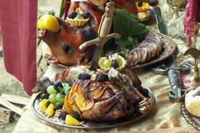 Food takes center stage at a madrigal dinner and can include everything from beef, fowl, stew and cheese to hearty breads, roasted vegetables, and egg dishes like quiche and fritters.