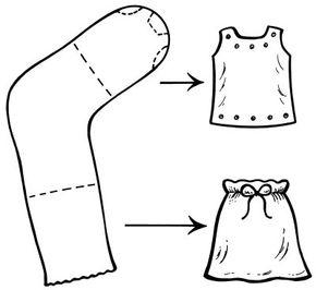 Turn old gym socks into dolls' gym clothes.