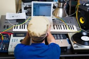 Using a synthesizer and controller, engineers can create sound recordings.