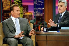 The Terminator wasn't afraid to talk about how he sometimes needs to pamper his hands with Jay Leno.