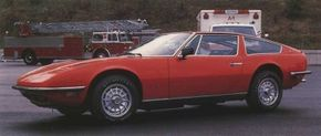 Clean-lined Indy was Maserati's first V-8-powered 2 + 2, effectively replacing both the Sebring and Mexico. Vignale styling somewhat disguises the car's true size.