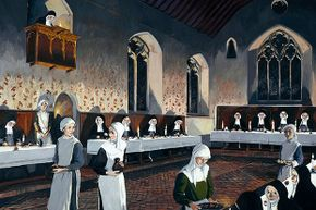 This reconstruction drawing shows a refectory in Denny Abbey, England, as it may have appeared in the 15th century. During this time, nuns at various convents began meowing and biting each other.