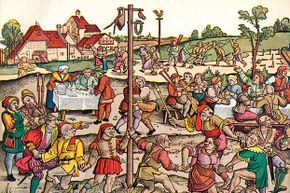 Medieval villagers performing a nose dance during a celebration. In 1518, a dancing plague hit Strasbourg, France.