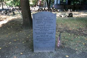 This gravestone marking the Boston Massacre lists the names of the five people who were killed. See Revolutionary War pictures.