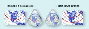 A conic map projection.