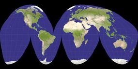 A Goode projection of the Earth.