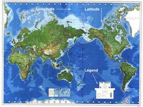 A conventional map of the world.
