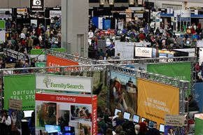 People attend the Rootstech Conference, sponsored by FamilySearch, in Salt Lake City, Utah to see the latest products and techniques in family research, search genealogy and DNA family history.