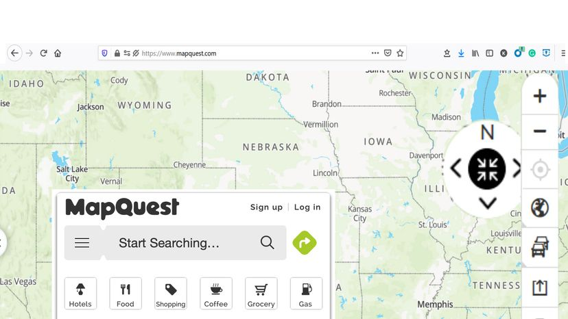 screenshot of MapQuest