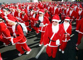 Runners come in all shapes and sizes, like these competitors dressed in Santa Claus suits competing in the Las Vegas Great Santa Run 5k on Dec. 9, 2006.