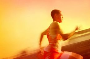 This runner is propelled by a complex system of muscles.