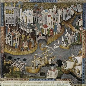This miniature of the Bodleni manuscript of Marco Polo's travel book shows a scene from Venice.