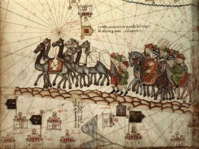 This illustration shows Marco Polo and his fellow explorers along the Silk Road to China.
