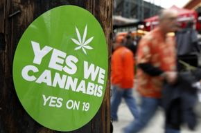 A sticker in San Francisco supports the passage of California's prop 19 to legalize marijuana in 2010. See more controlled substance pictures.