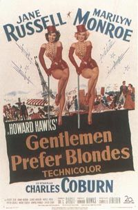 Original ad art for 'Gentlemen Prefer Blondes.' The prominence of Howard Hawks' name suggests his box-office clout.