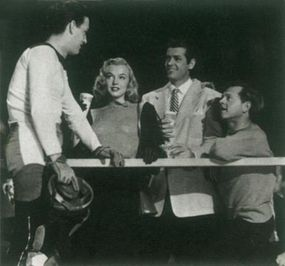Even the ever-energetic Mickey Rooney (far right) could not salvage  The Fireball, a tired programmer about professional roller skaters. Marilyn's part was tiny.