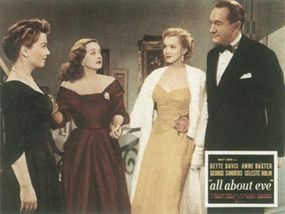 Marilyn found herself in some fast company in All About Eve. From left, Anne Baxter, Bette Davis, Marilyn, George Sanders.